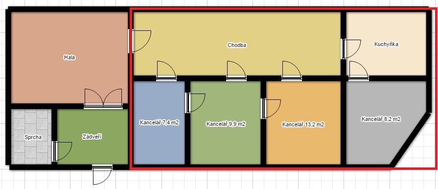 Pronájem administrativního prostoru se 4 kancelářemi – Gočárova třída