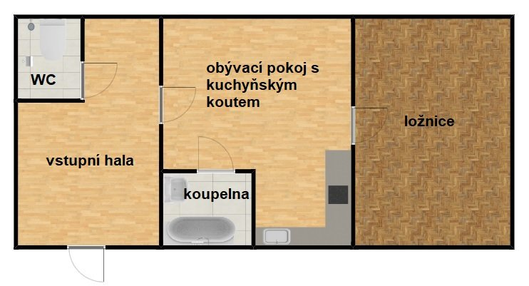Pronájem 2+kk v širším centru, 59 m2 – Bidlova