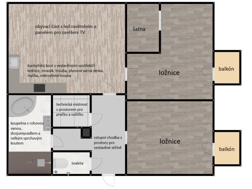 Prodej nadstandardního 3+kk se dvěma balkóny, 97 m2 – Stěžery
