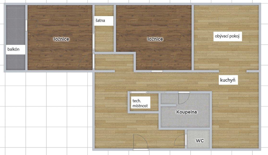 Prodej 3+kk s balkónem, šatnou a komorou – ul. Družstevní, Třemošnice